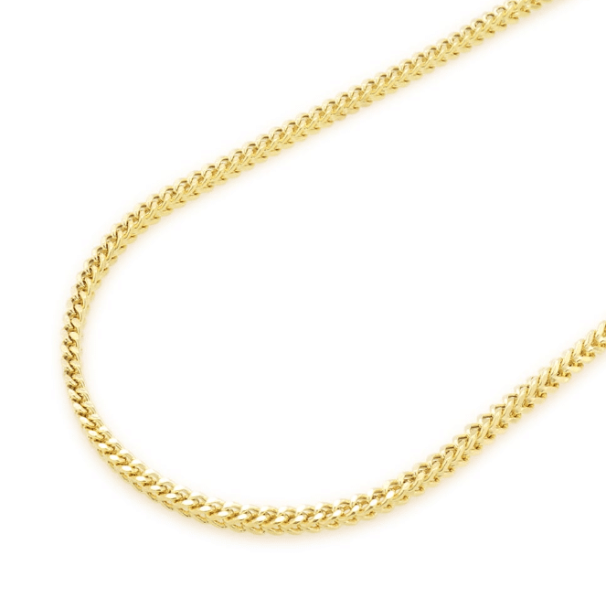 10K Yellow Gold Box Franco Link Chain 24 inches long MM