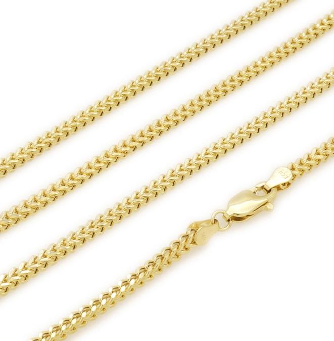 10K Yellow Gold Box Franco Link Chain 24 inches long MM Lock Shot