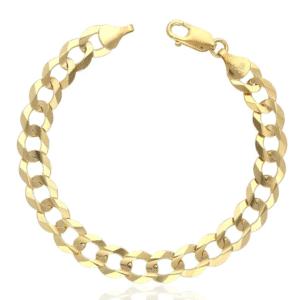 14K Yellow Gold Cuban Italian Curb Link Bracelet MM