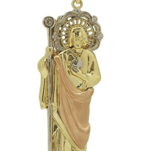 14K Tricolor Standing Sacred Heart of Jesus Pendant with Staff Burning Heart