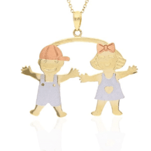 14K Tricolor Boy & Girl Charm Pendant Twins Daughter Son Tri-color Mothers Day Gift
