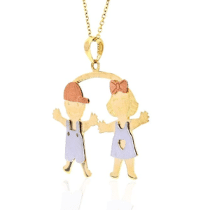 14K Tricolor Boy & Girl Charm Pendant Twins Daughter Son Tri-color Mothers Day Gift Side View