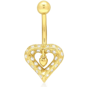 14K Yellow Gold Double Hanging Heart Belly Button Navel Stomach Piercing Pave Set with Genuine White Cubic Zirconias