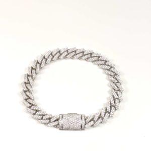14K White Gold Diamond Pave Set Cuban Link Bracelet 9.5MM Wide with Box Lock