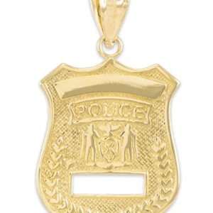 14K Yellow Gold Police Badge Pendant Large, Blue live matter, Ladies Police Badge, Police Coat of Arms
