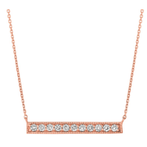 """14K rose gold straight diamond bar necklace adjustable in 16"""" and 18"""", gifts for her delicate diamond jewelry"""