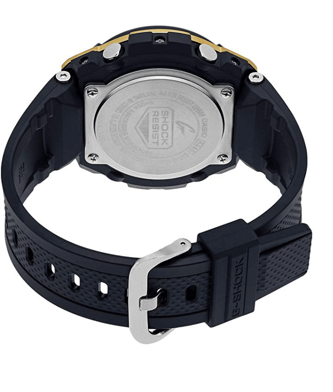 GSTS100G-1A G-Shock by Casio Tough Solar Gold Tone Men's Watch Digital Back View, Analog
