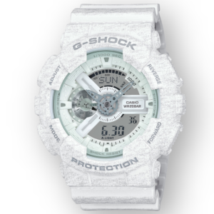 GA110HT-7A G-Shock By Casio White Camouflage Men's Watch Digital Front View, Analog