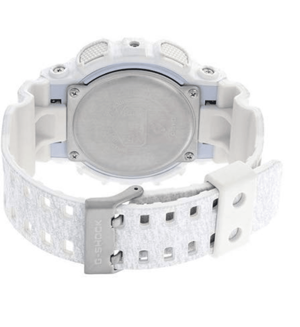 GA110HT-7A G-Shock By Casio White Camouflage Men's Watch Digital Back View, Analog