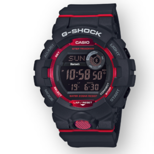 GBD800-1 G-Shock by Casio Bluetooth Connectivity Black with Red Watch Digital Front View, Analog
