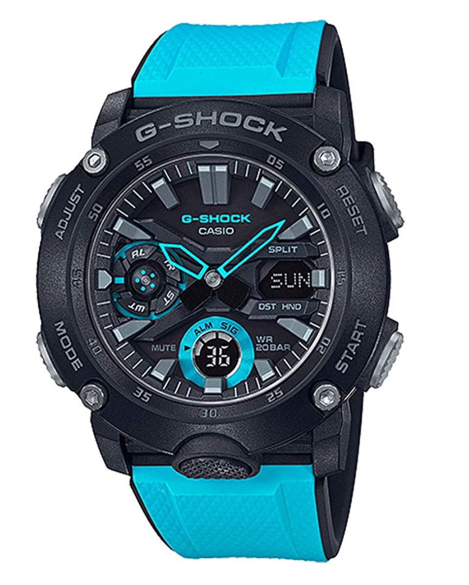 GA2000-1A2 G-Shock by Casio Carbon Core Guard Blue Resin Watch Strap Men's Watch Digital Front View, Analog