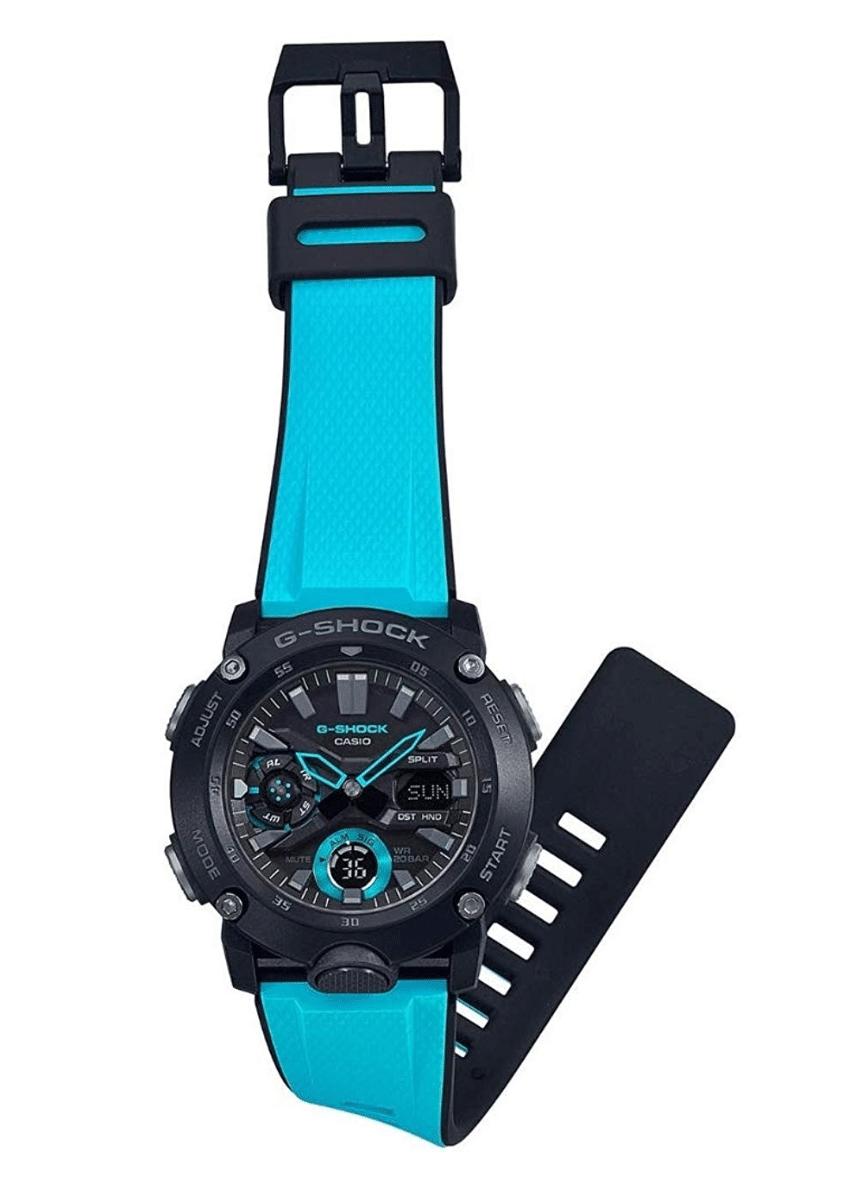 GA2000-1A2 G-Shock by Casio Carbon Core Guard Blue Resin Watch Strap Men's Watch Digital, Analog
