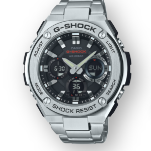GSTS110D-1A G-Shock by Casio Tough Solar Stainless Steel Men's Watch Digital Front View, Analog