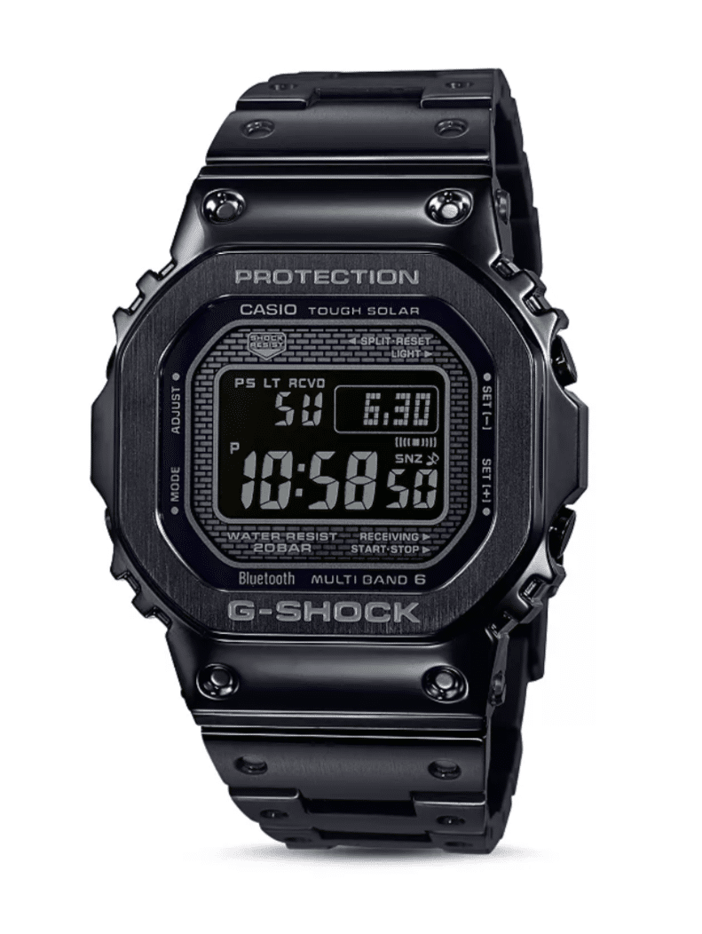GMWB5000GD-1 G-Shock by Casio Tough Solar Black Stainless Steel Bluetooth Connectivity Men's Watch Digital Front View, Analog