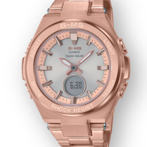 MSGS200DG-4A Ladies G-Shock Tough Solar Rose Gold Plated Watch Digital Front View, Analog