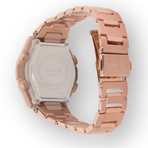 MSGS200DG-4A Ladies G-Shock Tough Solar Rose Gold Plated Watch Digital Rear View, Analog
