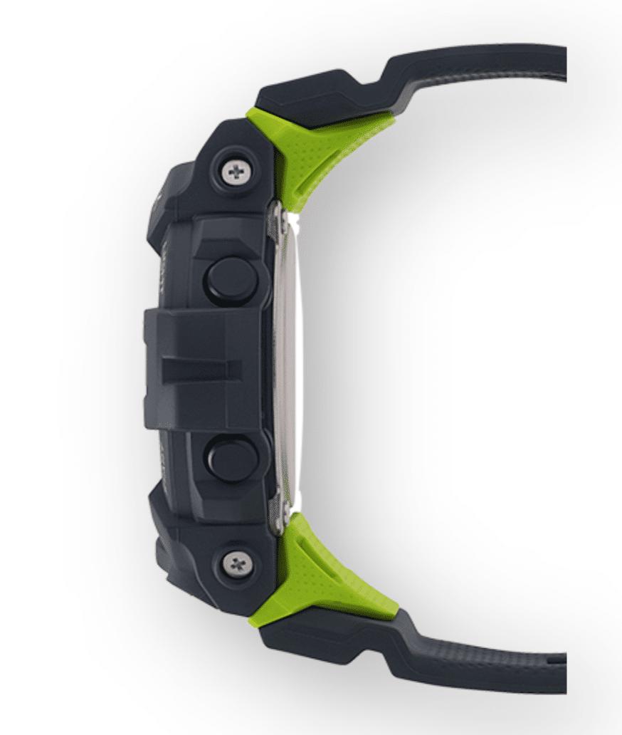 GBD800-8 G-Shock by Casio Bluetooth Black with Green Watch Digital Side View, Analog