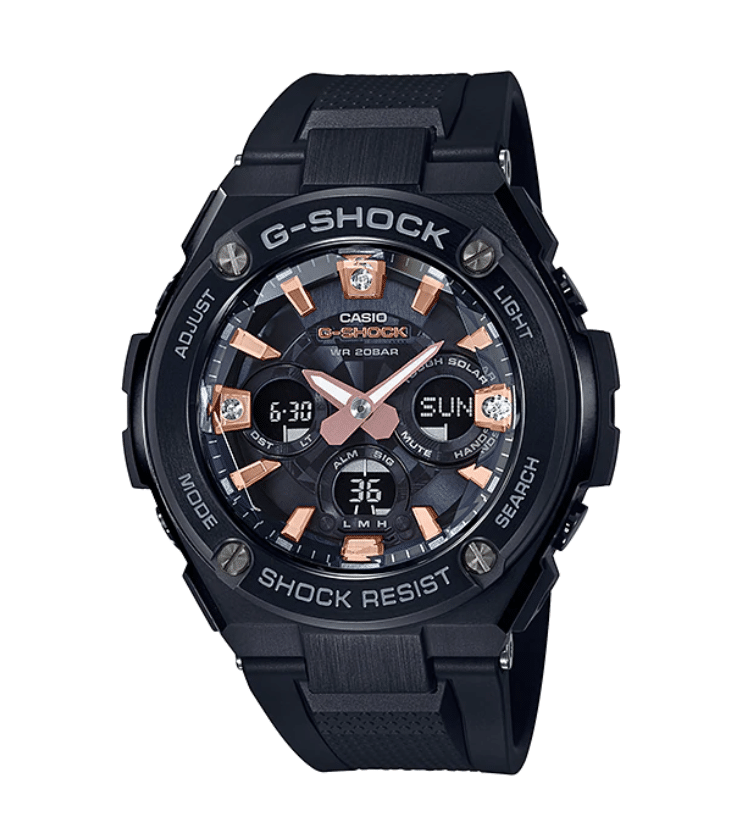 GST-S310BDD-1A G-Shock by Casio Pave Diamond mounted at the 12, 3 & 6 o'clock positions Tough Solar, Black Stainless Steel Metal with Rose Gold, Watch Digital Front View, Analog