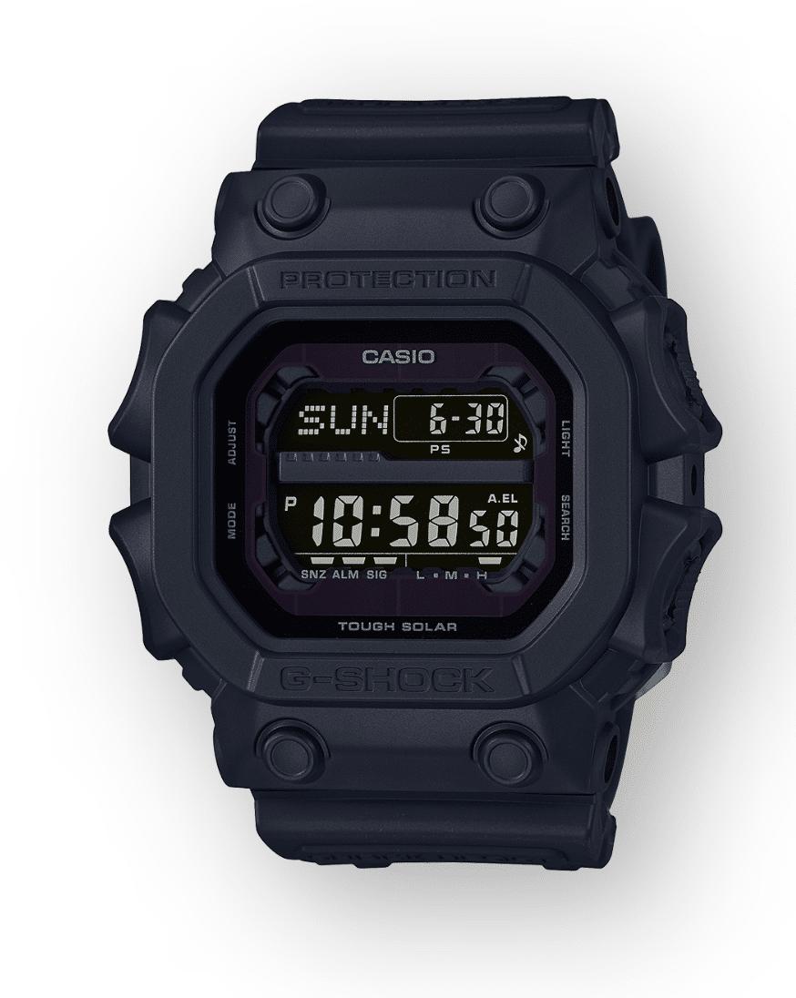 GX56BB-1 G-Shock by Casio Blackout XL size, Tough Solar, Front View