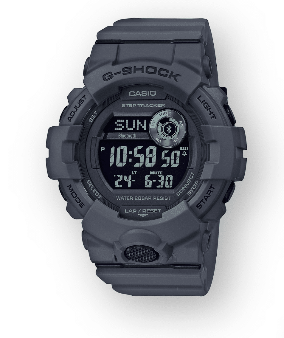 GBD800UC-8 G-Shock by Casio Black Bluetooth Connectivity Mineral Glass, Step Tracker, Front View