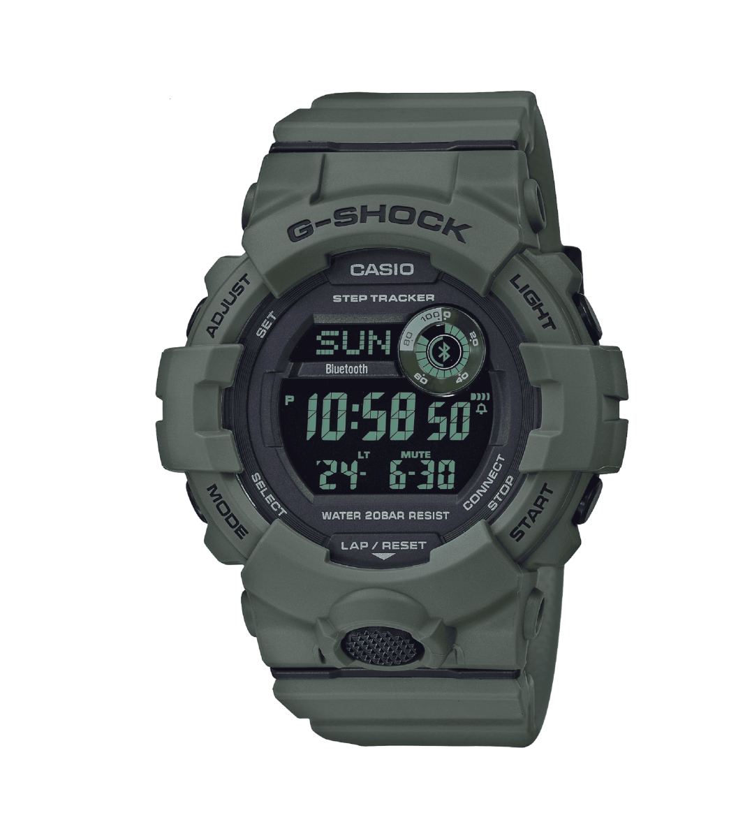 GBD800UC-3 G-Shock by Casio Green Bluetooth Connectivity Mineral Glass, Step Tracker, Front View