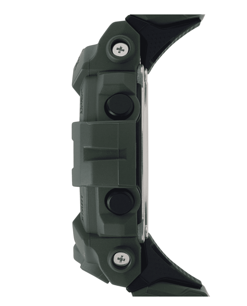 GBD800UC-3 G-Shock by Casio Green Bluetooth Connectivity Mineral Glass, Step Tracker, Side View
