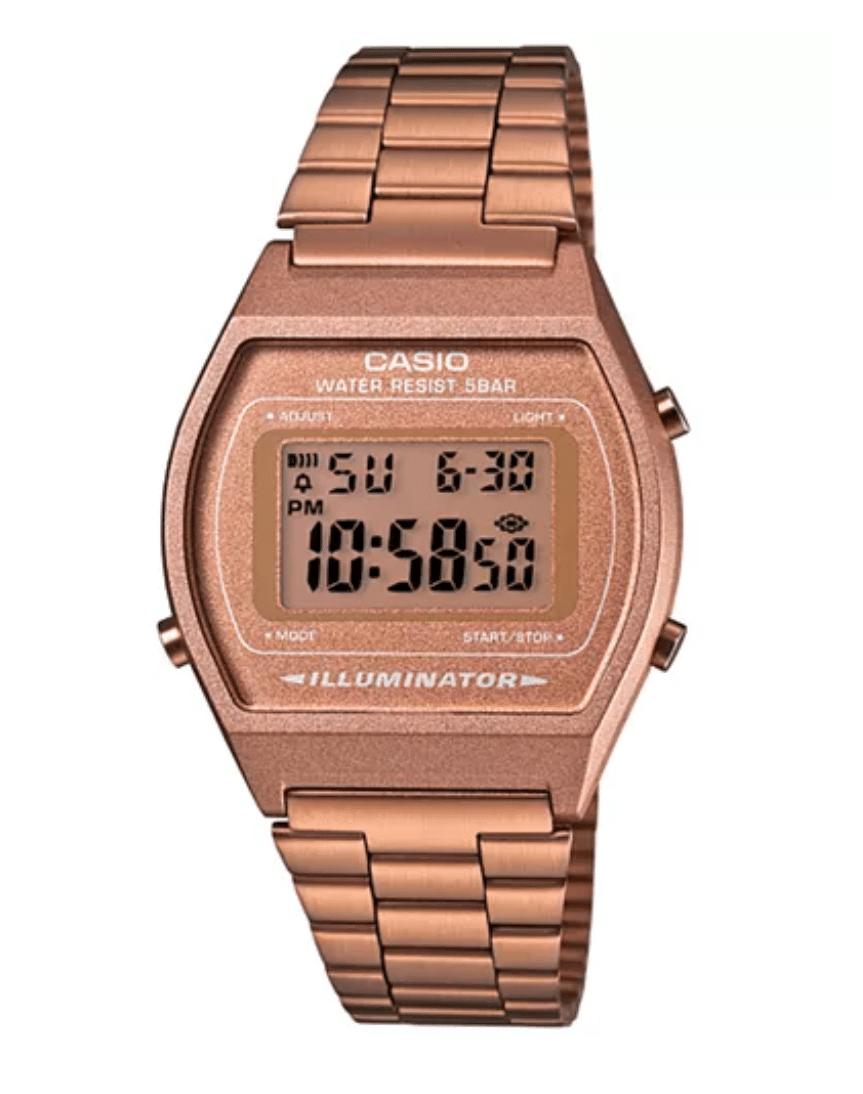 B640WC-5ADF Retro Digital Casio Watch Rose Gold Ladies Timepiece 3294, Metal Strap Analog, Front View