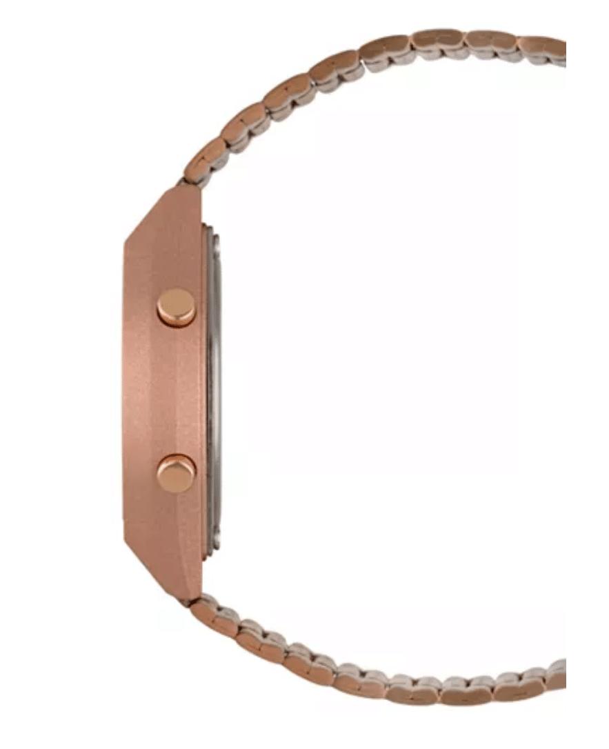 B640WC-5ADF Retro Digital Casio Watch Rose Gold Ladies Timepiece 3294, Metal Strap Analog, Side View