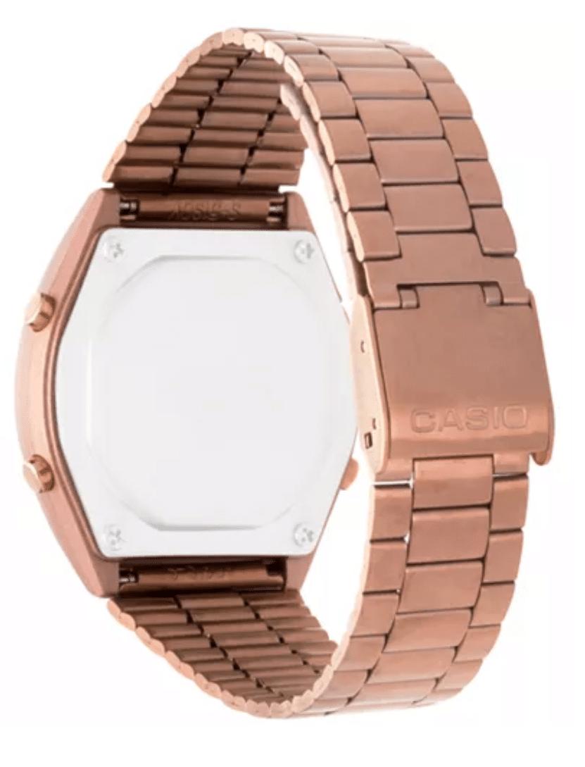 B640WC-5ADF Retro Digital Casio Watch Rose Gold Ladies Timepiece 3294, Metal Strap Analog, Side Back View