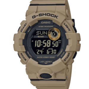 GBD800UC-5 G-Shock by Casio Tan, Beige, Military Bluetooth Connectivity Mineral Glass, Step Tracker, Front View
