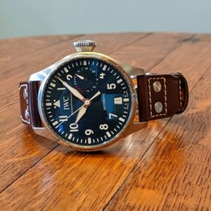 "IWC ""Le Petit Prince"" Big Pilot IW501002 Screw Down Crown, Beautiful Blue Dial, 8 Day Power Reserve, Brown Leather Strap with deployment clasp, Front View"