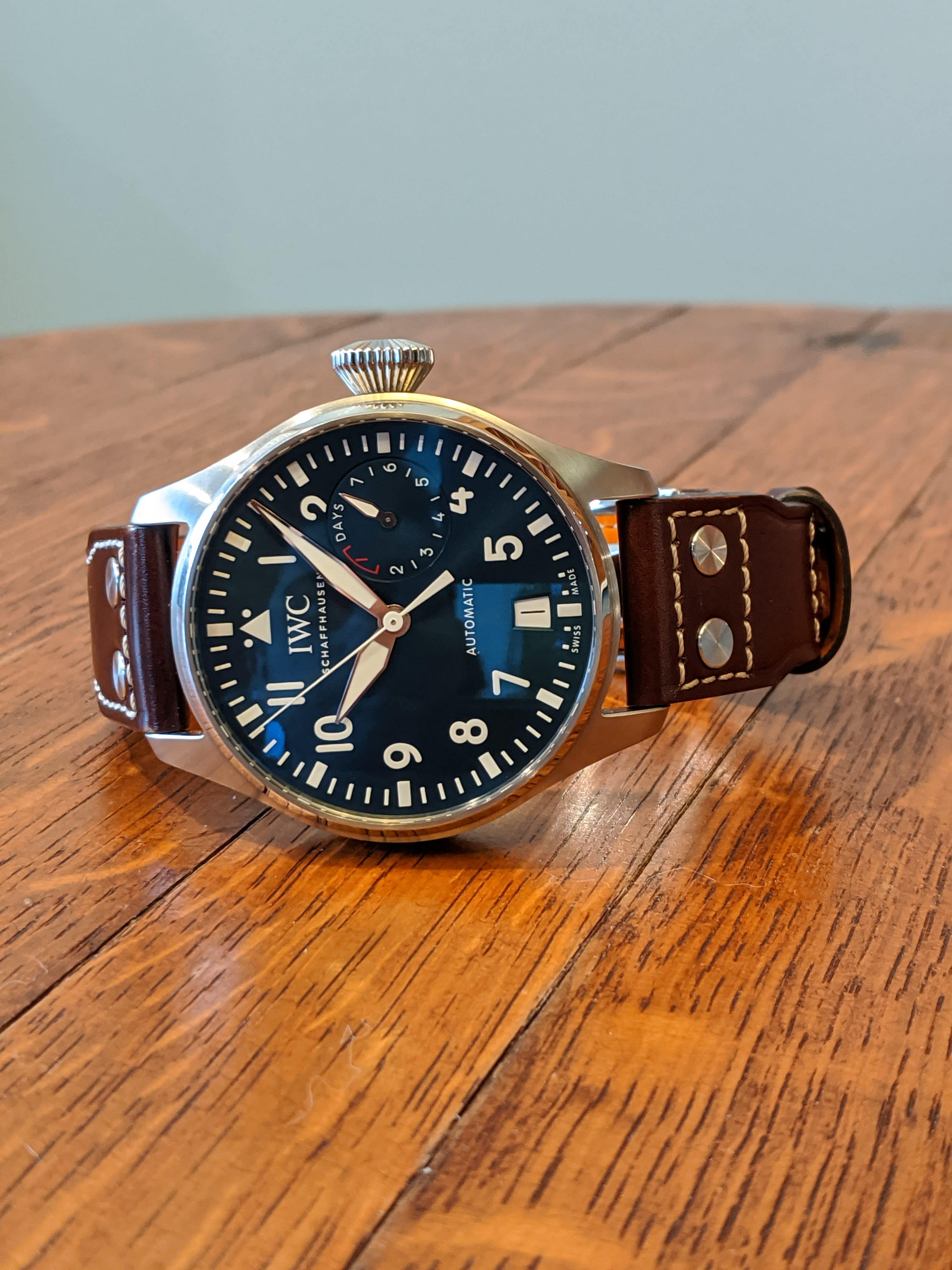 """IWC """"Le Petit Prince"""" Big Pilot IW501002 Screw Down Crown, Beautiful Blue Dial, 8 Day Power Reserve, Brown Leather Strap with deployment clasp, Front View"""